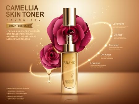 Illustration pour camellia skin toner in sprayer bottle, golden background, 3d illustration - image libre de droit