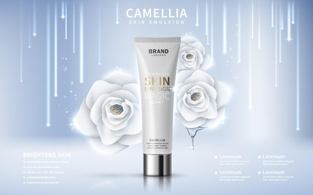 Illustration pour camellia skin toner contained in tube, silver background, 3d illustration - image libre de droit