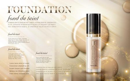 Illustration pour Glamorous foundation ads, glass bottle with foundation and sparkling effects, elegant ads for design, 3d illustration - image libre de droit