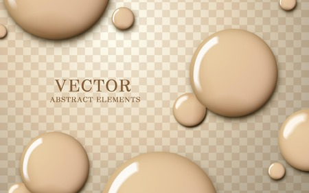 Illustration pour Attractive foundation texture, glossy skin tone liquid drop on transparent background, 3d illustration - image libre de droit