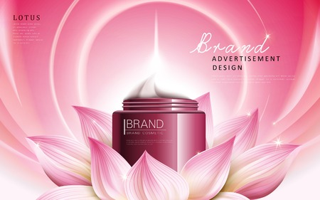 Illustration pour lotus essence cream ad contained in red cosmetic jar, pink background, 3d illustration - image libre de droit