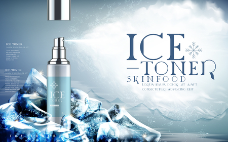 Illustration pour ice toner contained in light blue spray bottle, mountain background and iceberg elements, 3d illustration - image libre de droit