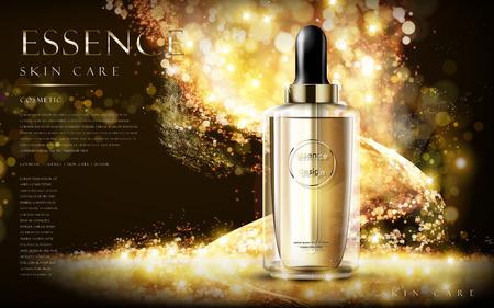 Illustration pour golden essence skin care contained in bottle, glitter background in 3d illustration - image libre de droit