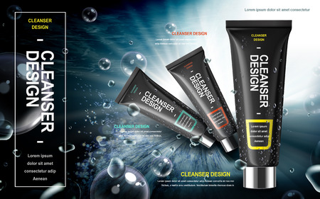 Illustration for men's facial cleanser product contained in black tube over watery background in 3d illustration - Royalty Free Image