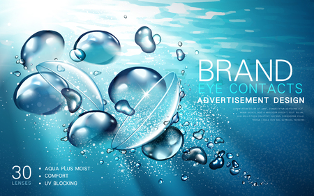 Illustration pour transparent contact lense ad, with light flow and bubble elements, underwater background, 3d illustration - image libre de droit