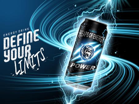 Ilustración de energy drink contained in black can, with current element surrounds, blue background, 3d illustration - Imagen libre de derechos