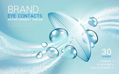 Illustration pour transparent contact lense ad, with light flow and bubble elements, 3d illustration - image libre de droit