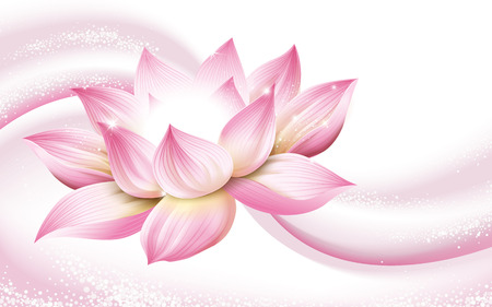 Ilustración de flower background, with a complete pink lotus in the picture, 3d illustration - Imagen libre de derechos