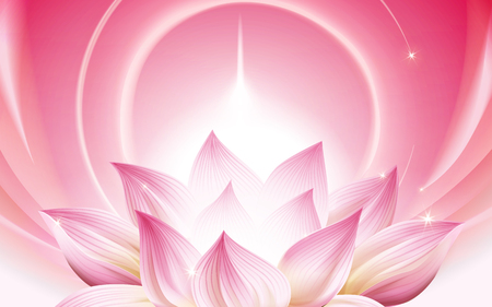 Ilustración de complete pink lotus at the lower half of the picture, 3d illustration - Imagen libre de derechos