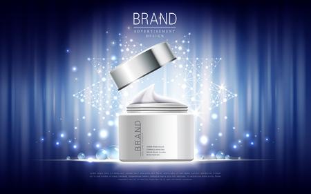 Illustration pour skin care cream contained in white jar, blue astral background, 3d illustration - image libre de droit
