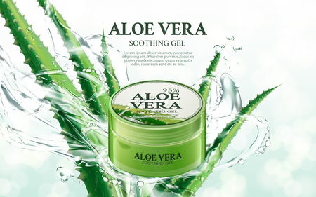 Illustration pour aloe vera soothing gel, contained in green jar, with aloe and splash elements, 3d illustration - image libre de droit