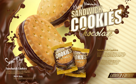 Illustration pour chocolate sandwich cookies ad, flowing chocolate with cookie elements, yellow stripe background 3d illustration - image libre de droit