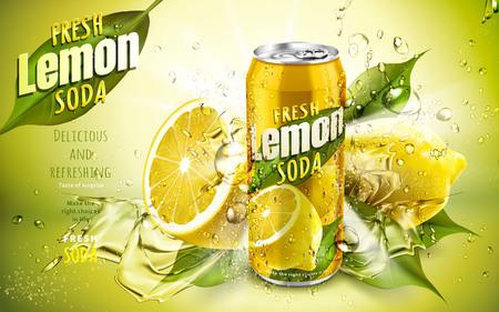 Illustration pour fresh lemon soda ad, with cool water flows and lemon leaf elements, 3d illustration - image libre de droit