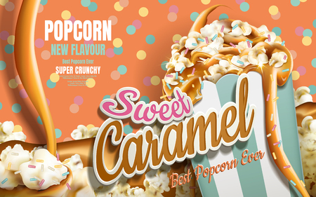 Illustration pour Caramel popcorn ads, caramel flowing down with rainbow jimmy coated isolated on colorful dotted background, 3d illustration - image libre de droit