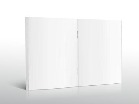 Ilustración de Blank standing left tilt open brochure 3d illustration, can be used as design element, isolated shadowy white background, side view - Imagen libre de derechos
