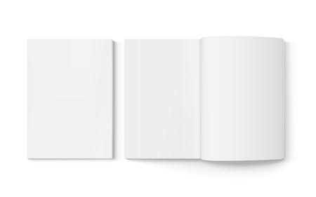 Illustration pour Two blank books 3d illustration, one open, can be used as design element, isolated white background, top view - image libre de droit