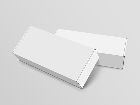 Illustration for Two right tilt white blank boxes, isolated gray background, 3d illustration, elevated view - Royalty Free Image