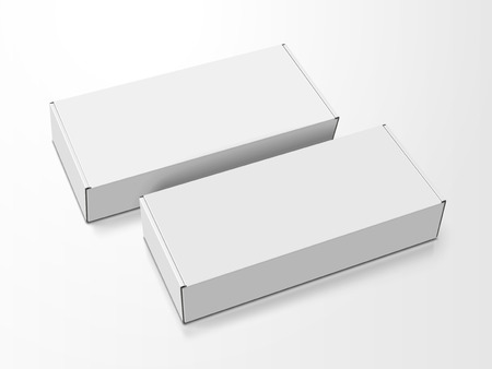 Illustration for Two left tilt white blank boxes, isolated white background, 3d illustration, elevated view - Royalty Free Image