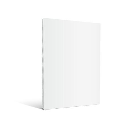 Ilustración de Blank left tilt standing thick book 3d illustration, can be used as design element, isolated white background, side view - Imagen libre de derechos