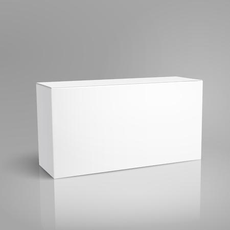 Ilustración de Left tilt blank paper box 3d illustration, can be used as design element, isolated gray background, elevated view - Imagen libre de derechos