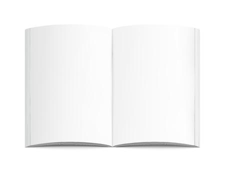 Ilustración de Blank open book 3d illustration, can be used as design element, isolated white background, top view - Imagen libre de derechos