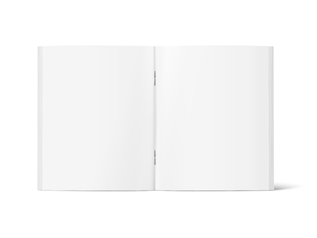 Ilustración de Blank standing open book 3d illustration, can be used as design element, isolated white background, side view - Imagen libre de derechos
