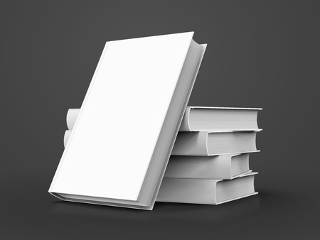 Illustration pour blank white books, four right tilt ones and another leaning on them, can be used as design element, isolated dark gray background, 3d illustration - image libre de droit