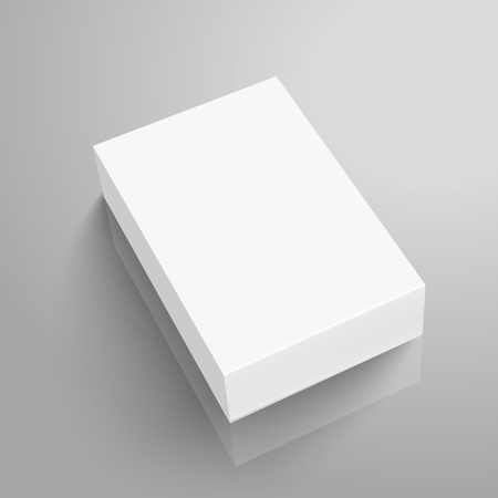Ilustración de Right tilt blank paper flat box 3d illustration, can be used as design element, isolated gray background, elevated view - Imagen libre de derechos