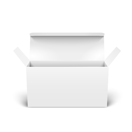 Ilustración de Open blank paper box 3d illustration, can be used as design element, isolated white background, elevated view - Imagen libre de derechos