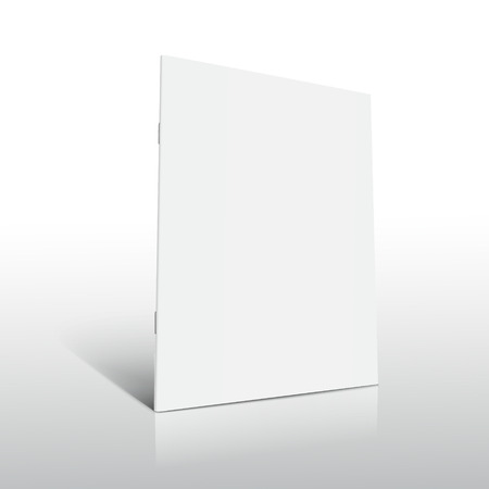 Ilustración de Blank left tilt standing brochure 3d illustration, can be used as design element, isolated shadowy white background, side view - Imagen libre de derechos