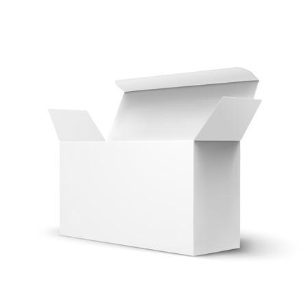 Ilustración de Open right tilt blank paper box 3d illustration, can be used as design element, isolated white background, side view - Imagen libre de derechos