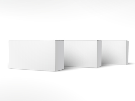 Illustration pour Three right tilt blank paper boxes 3d illustration, can be used as design element, isolated white background, side view - image libre de droit