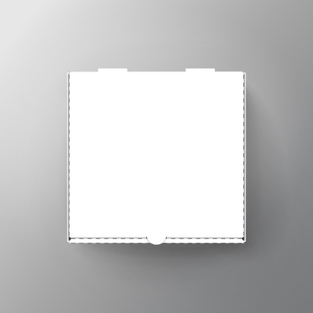 Illustration pour blank white pizza box, can be used as design element, isolated gray background, 3d illustration, top view - image libre de droit