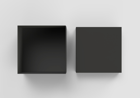 Photo for top view black 3d rendering blank square box with separate lid, isolated gray background - Royalty Free Image