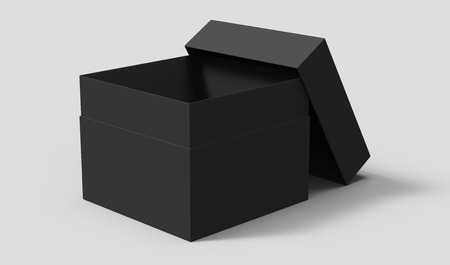 Photo pour black 3d rendering blank square box with separate lid, isolated gray background - image libre de droit