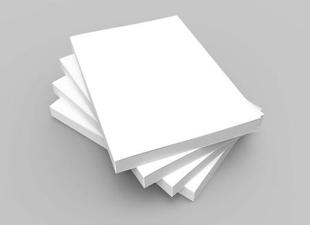 Photo for four stacking blank closed books placed in helical shape, isolated gray background, 3d rendering elevated view - Royalty Free Image