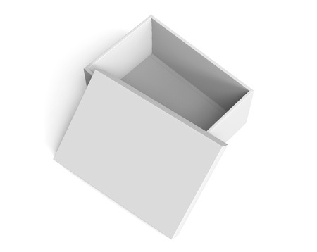Photo for 3d rendering blank right tilt open paper box with leaning lid for design use, isolated white background, elevated view - Royalty Free Image