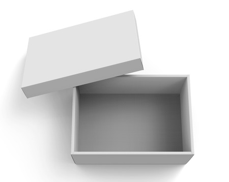 Photo pour 3d rendering blank open paper box with leaning lid for design use, isolated white background, elevated view - image libre de droit