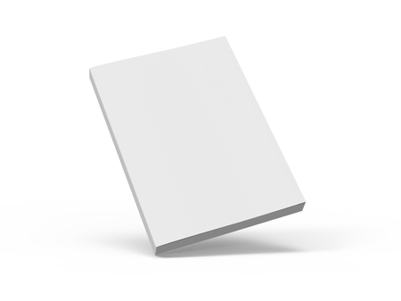 Photo for slanting blank 3d rendering white book, isolated white background, elevated view - Royalty Free Image