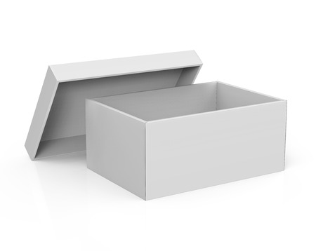 Photo for 3d rendering blank left tilt open paper box with leaning lid for design use, isolated white background, elevated view - Royalty Free Image