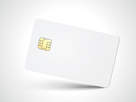 Ilustración de Slanting white blank chip card, isolated white background, 3d illustration - Imagen libre de derechos