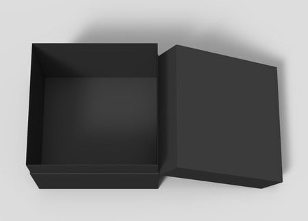 Photo pour black blank paper open box with lid, isolated gray background, 3d rendering top view - image libre de droit