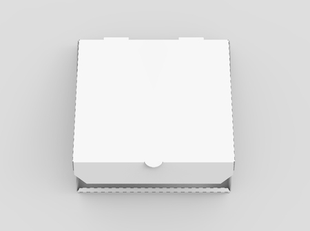 Photo pour 3d rendering white blank slightly open pizza box, isolated light gray background top view - image libre de droit
