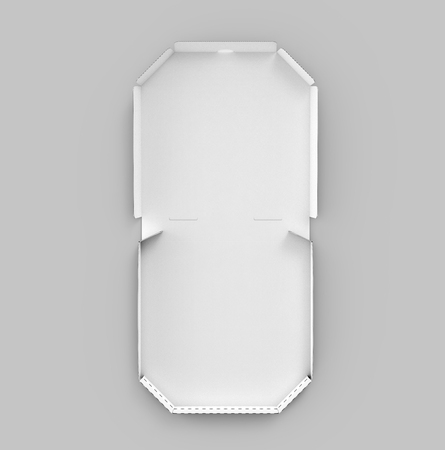 Photo pour 3d rendering white blank open pizza box, isolated gray background top view - image libre de droit