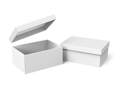 Photo pour two tilt 3d rendering blank white paper boxes, one open with a floating separate lid, for design use, isolated white background, elevated view - image libre de droit