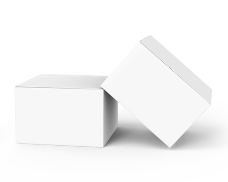 Photo pour two 3d rendering closed white blank boxes, one leaning on another, for design uses,  isolated white background elevated view - image libre de droit