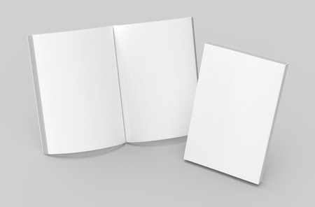 Photo for Blank book template, mockup for design uses in 3d rendering, one standing open book with closed one - Royalty Free Image