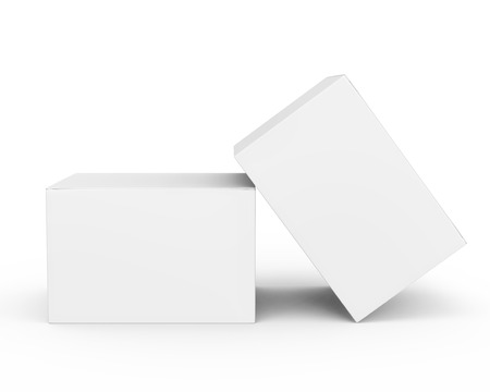 Photo pour Blank paper box mockup, white paper boxes in 3d rendering isolated on white background - image libre de droit