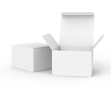 Photo pour Blank paper box mockup, white paper boxes one open and the other closed in 3d rendering - image libre de droit