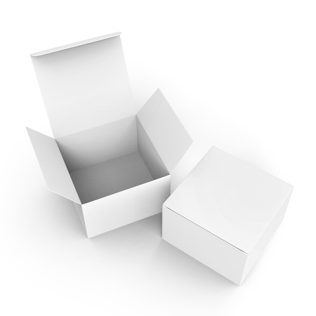 Photo pour Blank paper box mockup, white paper boxes one open and the other closed in 3d rendering, top view - image libre de droit